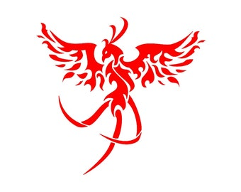 Fiery Phoenix Custom Die Cut Vinyl Decal Sticker - Choose your Color and Size