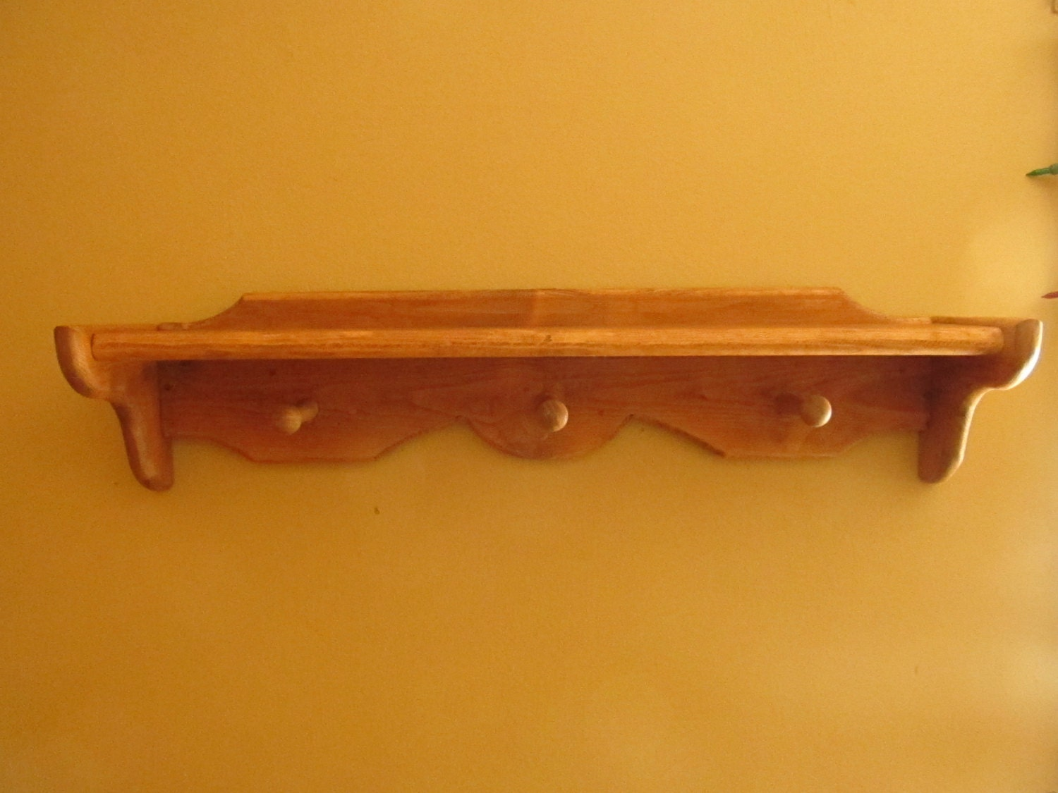 Handmade Wood Shelf With Three Hanging Pegs And Decorative