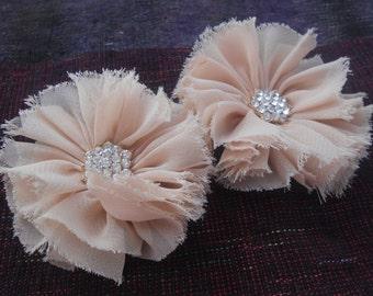 "Beige chiffon Shabby Flowers,2.5 "",Chiffon Flower, Folded Flower , Fabric Flower,Headband Flower,Wholesale"