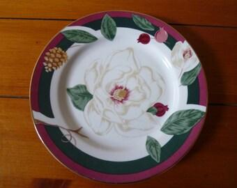 """Vintage Fairfield Bone China """"Magnolia"""" Set of 4 Side Plates"""