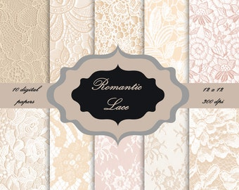 LACE Digital Paper Pack - Vintage lace pattern background for scrapbooking, wedding invitations, cards - Download Vintage shabby Backgrounds