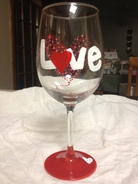 Items Similar To Valentines Day Wine Glasses On Etsy