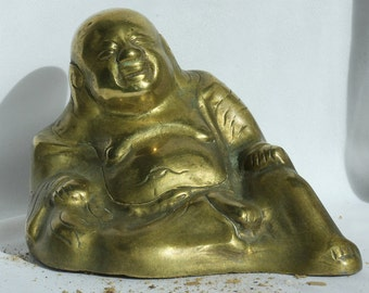 Vintage Chinese Brass Buddha  Early 20th Century Republic Period