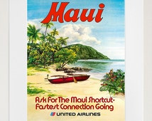 Maui Art Print Hawaii Travel Poster (TR102)