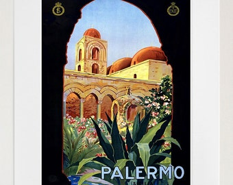 Italy Wall Art Print Palermo Vintage Travel Poster (TR76)