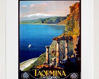 Italy Travel Print Poster Taormina Wall Art (XR144)