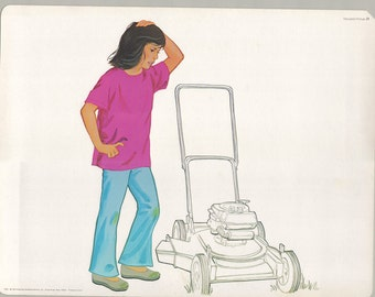 1974 Educational Illustrations - Confused by Invisible Lawn Mower