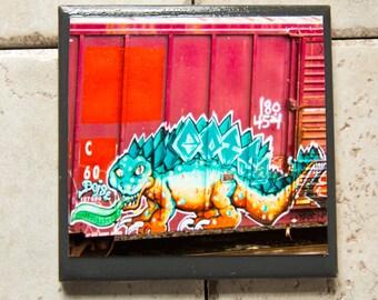 Train art coaster: Dragon  - Train Graffiti. Individually photographed and hand made by Frank Heflin