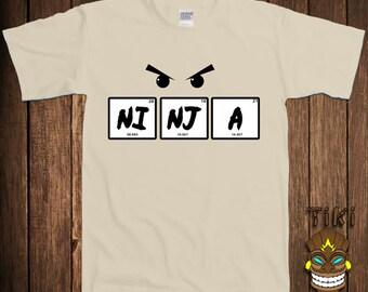 Funny ninja t shirt chemistry science tshirt tee shirt for Custom periodic table t shirts