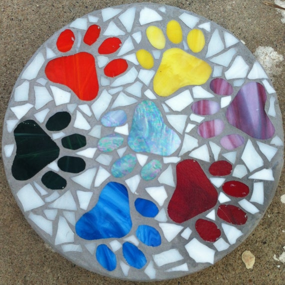 Mosaic Garden Stones: Items Similar To Custom Stained Glass Mosaic Stepping