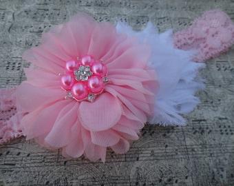 Pink and white blossom headband, Pink headband, pink pearl headband, pink flower