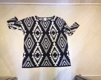 Supre Aztec geometric square Pullover knitwear black white grey