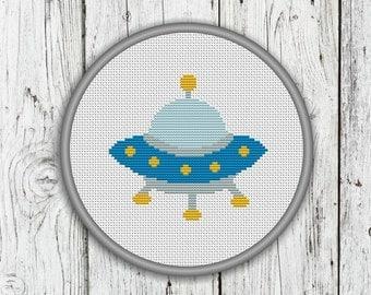 UFO Counted Cross Stitch Pattern - Alien Cross Stitch - PDF, Instant Download