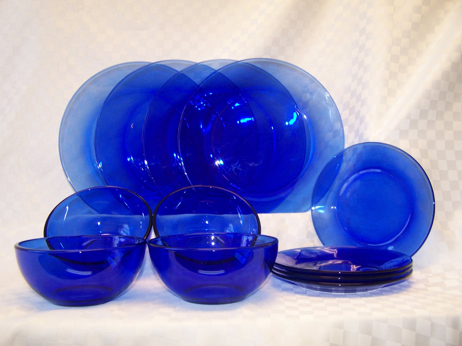 Vintage Cobalt Blue Glass Dinnerware Set