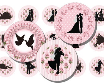 1 Inch Circle Digital Wedding Bottlecap Image Bride and Groom Silhouette 1 Inch Circle Bottle Cap Image Jewelry Pendant Button Sticker 0002