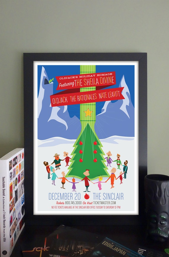 """Oldjack's Holiday Homage with The Sheila Divine Gig Poster // The Sinclair, Cambridge, MA 13""""x19"""""""