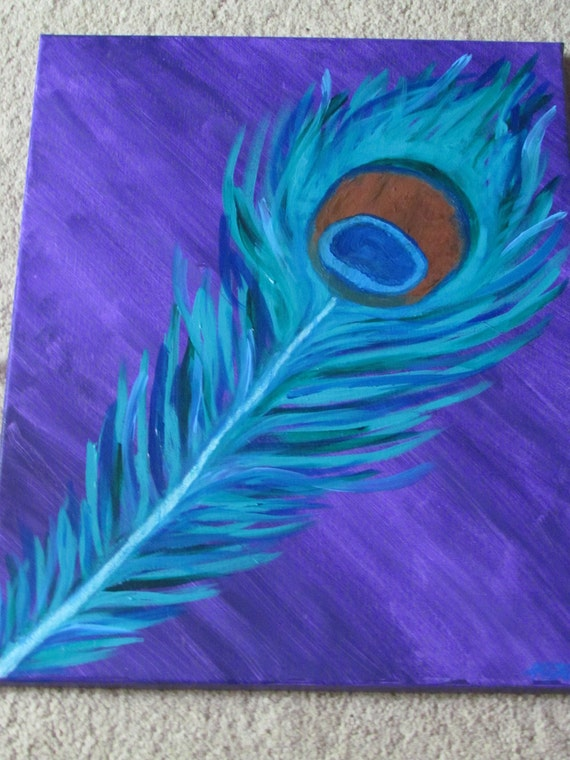 Peacock feather canvas painting for Painting feathers on canvas