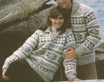 White Buffalo Pattern 6110 Cowichan Salish sweater Knit cardigan Native Canadian hippy West coast sweater jumper pullover PDF knitting boho