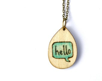 Pyrography Jewelry - Wood Burned - Wood Burned Jewelry - Wood Burned Sign - Hello Necklace