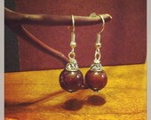 SALE! Gypsy Earrings with Wooden Beads (burgundy)