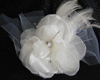 Soft White Organza Bridal Flower Hair Accessory