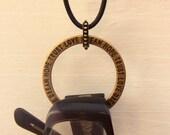 Men's Glasses Lanyard. Brass Affirmation Ring: Hope Trust Love Dream. Simple Unisex Holder for Eyeglasses.  Black Leather Eyeglass Holder.