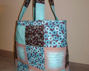 Inspirational Tote Bag, Quilted and Lined.  Free shipping.