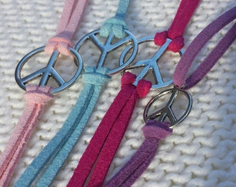 Peace Sign Suede Bracelet