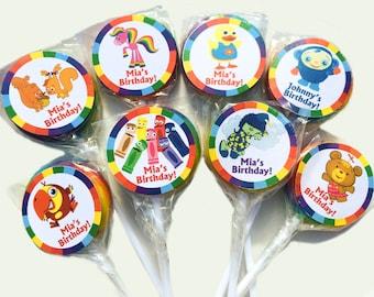 Baby First TV - Peek A Boo Bunny Bear Shushybye VocabuLarry Rainbow Horse Personalized Mini Lollipops