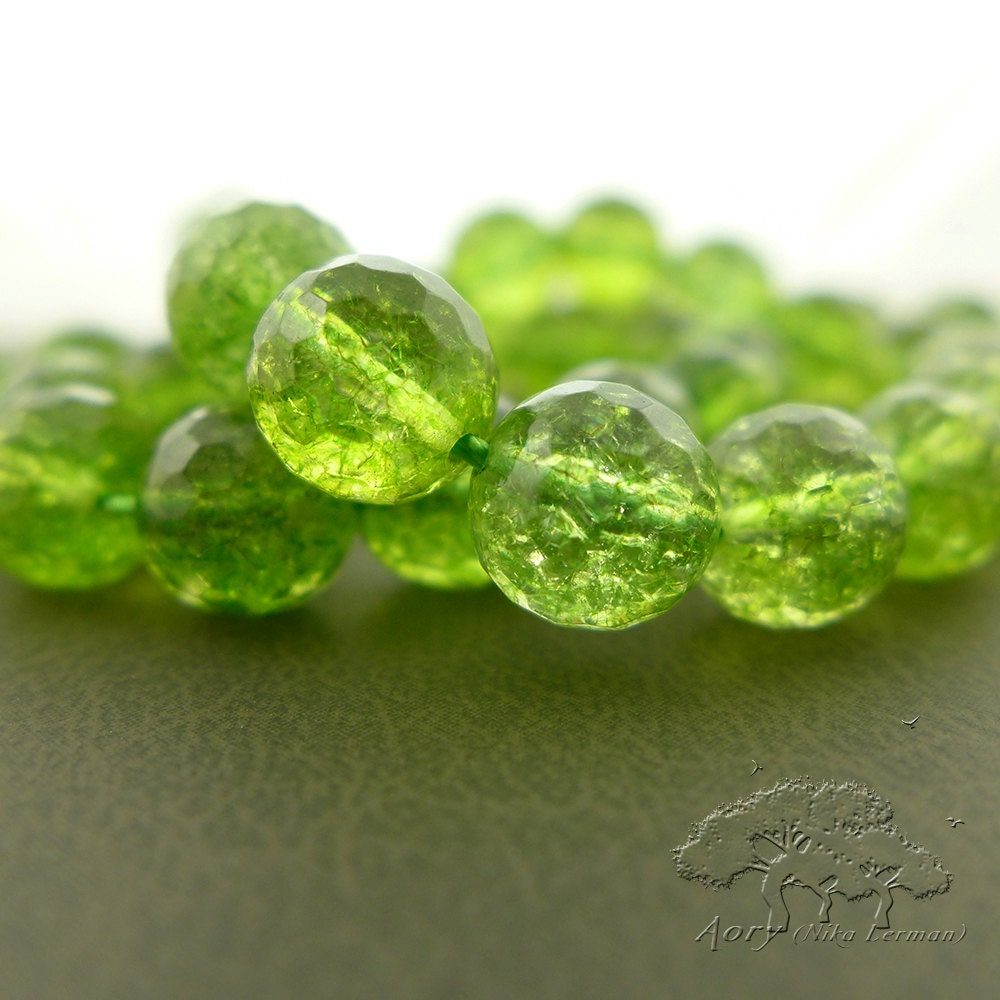 40 Beads Natural Green Quartz Beads Strand Faceted Round