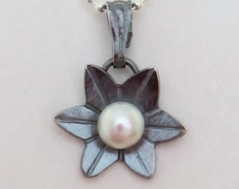 Lotus Pendant - Flower Pendant - Teeny Black Lotus Pendant - made to order