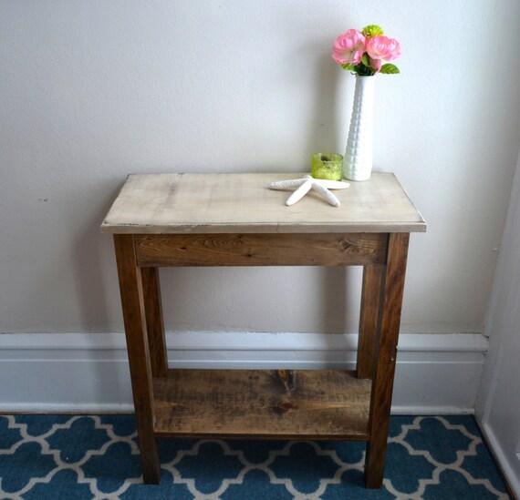 The Alexandra Ivory Pine Side Table With Bottom Shelf