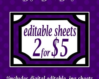 Digital Editable .JPG Sheets Bulk Deal - Choose 2 editable .jpg sheets for 5 dollars