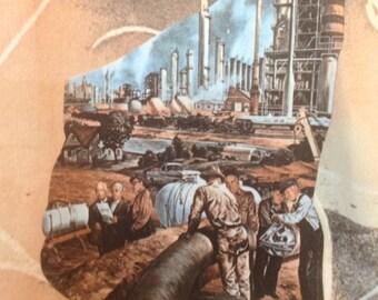 1970s Donegal Poly PhotoPrint Big Oil Propaganda Shirt