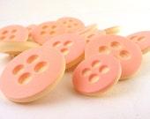 Pink Plasic Polka Dot Mod Shank Buttons Vintage Lot of 13