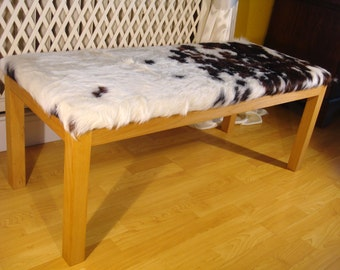 Cowhide bench, bench, upholstered bench, cowhide bench, beech frame