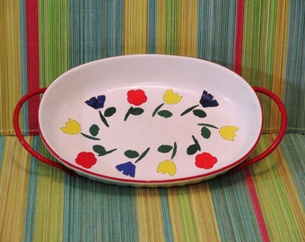 Vintage Serving Dish With Tulips