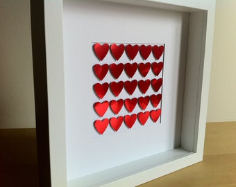 Valentines red heart box frame picture