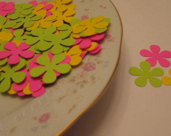 100 Hand Punched Retro Flowers  Lot of  100  / Confetti / Scrapbook Embellishments / Card Embellishments / ANY COLORS