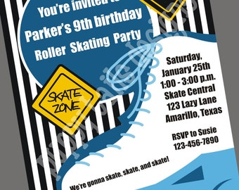 Custom Printed Boy Skating Invitations - 1.00 each with envelopes and FREE return address printed