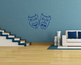 Movie Room Theater Masks Wall Decal-Removable Wall Art Sticker-Multiple Colors-Home Theater