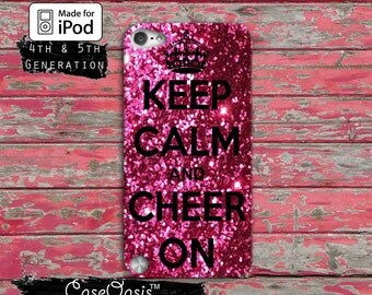 Keep Calm and Cheer Cheerleading Gymnasitcs Cute Pink Case iPod Touch 4th Generation or iPod Touch 5th Generation or iPod Touch 6th Gen Rubb