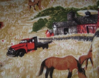 Grazing Horses with red barns and red truck fleece blanket