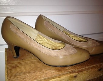 Vintage Tan Suede & Leather Shoes- size 6