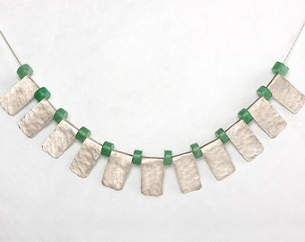 Tribal  necklace ,  Aventurine stones ,  tribal jewelry inspiration , Sterling silver ,  hammered silver , Handmade gemstone  Necklace