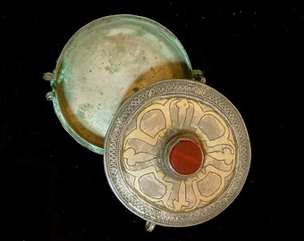 Old Turkoman silver with gold wash pendant box, 3 1/4 inches