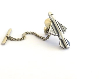 Missile Tie Tack in Sterling Silver Ox Finish- Gifts For Men