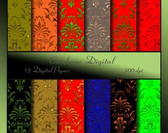 Glitter Damask Digital Paper- instant download