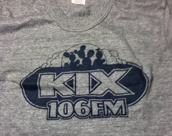 Vintage KIX 106 FM T shirt in Gray Heather or Yellow 70s/80s