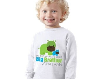 I'm the world's best big brother Hippo kids shirt or Baby Bodysuit